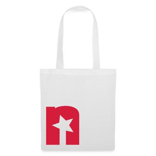 Stoffbeutel, weiß - Logo rot - Stoffbeutel