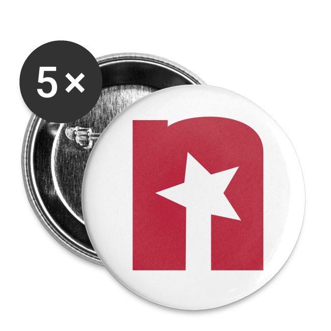 Buttons klein 25 mm, weiß - Logo rot
