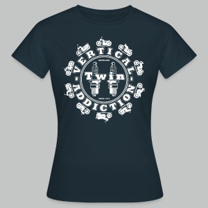 Vertical Twin Addiction -White logo with Bikes - Women's T-Shirt