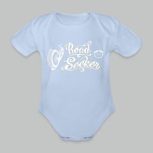 Kid's Road Seeker V Twin - White/Beige logo - Organic Short-sleeved Baby Bodysuit