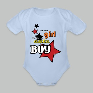 I'm not a girl I'm just a cute boy pop - Organic Short-sleeved Baby Bodysuit