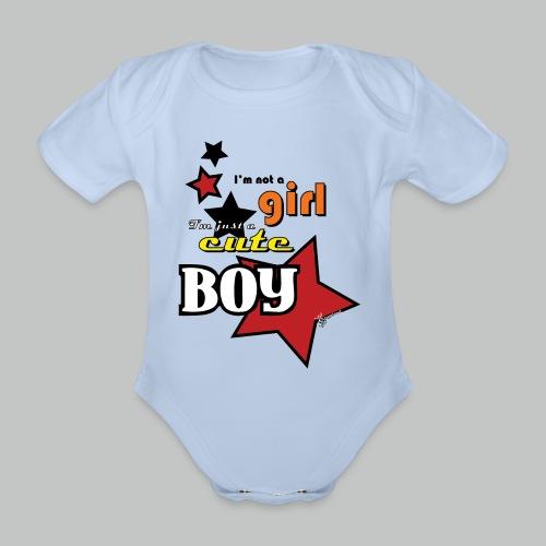 I'm not a girl I'm just a cute boy pop - Organic Short-sleeved Baby Bodysuit