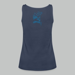 Let's go for a ride (Front) + Coming From Angeland UFO (Back) - Light Blue logo - Women's Premium Tank Top