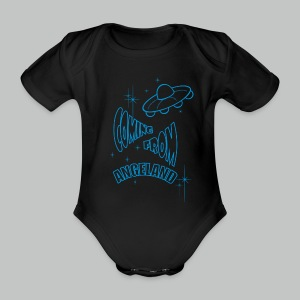 Coming From Angeland UFO (Front) - Light Blue logo - Organic Short-sleeved Baby Bodysuit