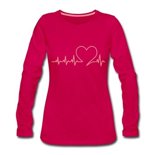 Herzschlag heartbeat Valentinstag Liebe love - Women's Premium Longsleeve Shirt