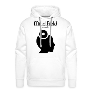 Mind Field Records Mens White Logo Hoodie (Large Text Design) - Men's Premium Hoodie