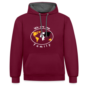 TIAN GREEN Pullover Unisex  - We are one family - Kontrast-Hoodie