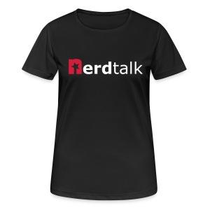 Frauen T-Shirt, atmungsaktiv - Schriftzug rot/weiß - Frauen T-Shirt atmungsaktiv