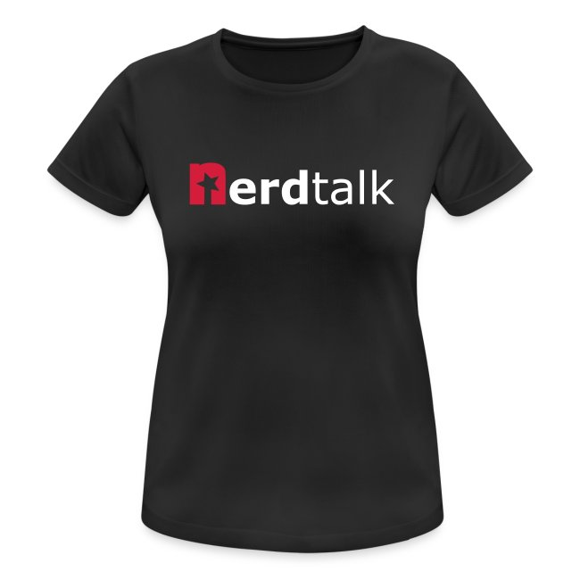 Frauen T-Shirt, atmungsaktiv - Schriftzug rot/weiß