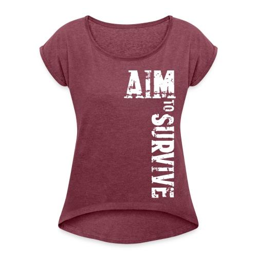 AIM TO SURVIVE - rot - Frauen T-Shirt mit gerollten Ärmeln