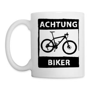 Tasse Achtung Biker - schwarz / einfarbig - Tasse