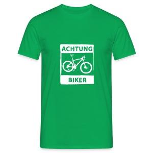 Shirt Achtung Biker - weiß / einfarbig - Männer T-Shirt