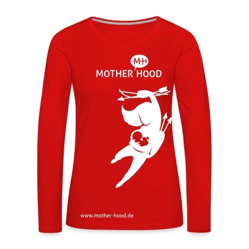 Powermum Langarmshirt rot weiß - Frauen Premium Langarmshirt