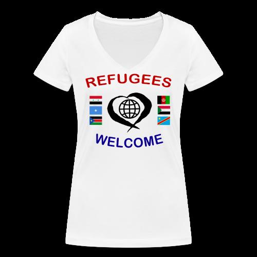 Refugees-Welcome-1-DD-F- T-Shirt V-Ausschnitt - Frauen Bio-T-Shirt mit V-Ausschnitt von Stanley & Stella