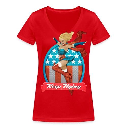 Bombshells Supergirl Frauen V-Neck T-Shirt - Frauen Bio-T-Shirt mit V-Ausschnitt von Stanley & Stella