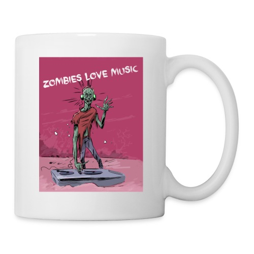 Zombies love music - Mug blanc