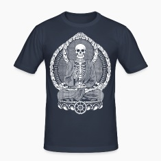 Bleu marine Skeletton Buddha White Tee shirts