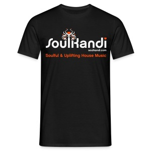 Men's Soul Kandi T-Shirt White & Neon Orange Flex Print. - Men's T-Shirt