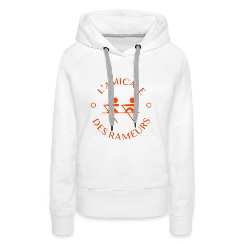 Amicale Femme - Blanc & Orange - Sweat-shirt à capuche Premium pour femmes