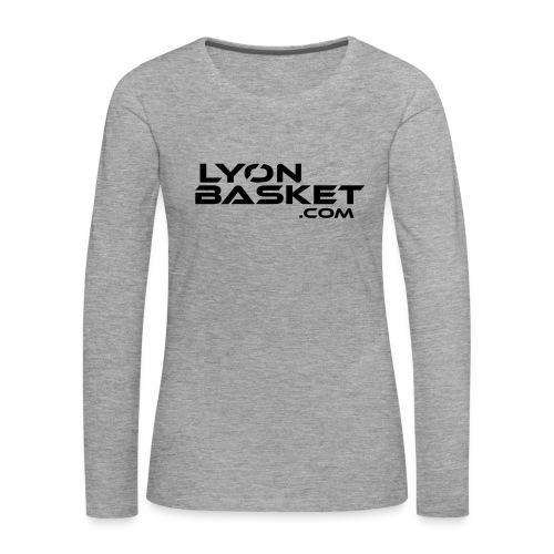 T-shirt manches longues Femme gris logo noir - T-shirt manches longues Premium Femme