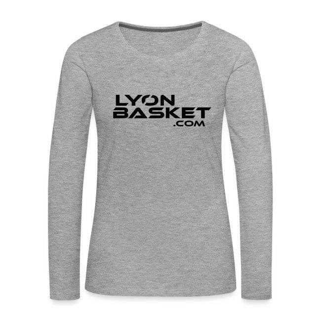 T-shirt manches longues Femme gris logo noir