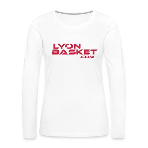 T-shirt manches longues Femme blanc logo rouge - T-shirt manches longues Premium Femme