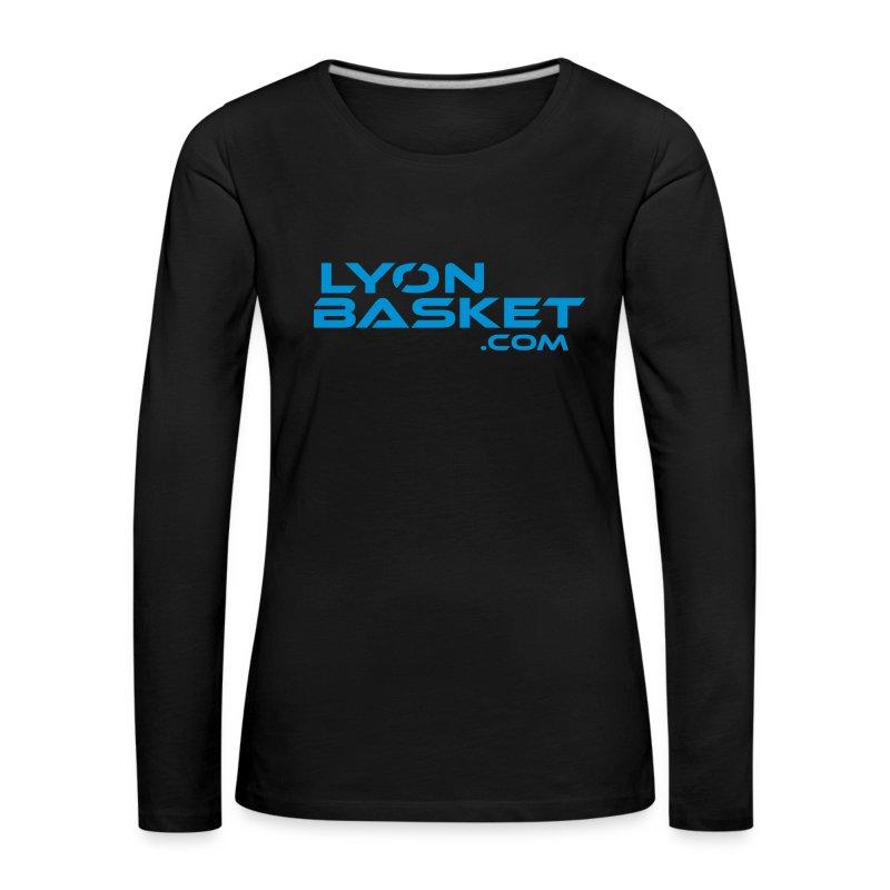 T-shirt manches longues Femme noir logo bleu ciel - T-shirt manches longues Premium Femme