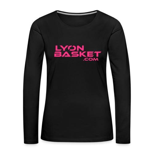 T-shirt manches longues Femme noir logo rose - T-shirt manches longues Premium Femme