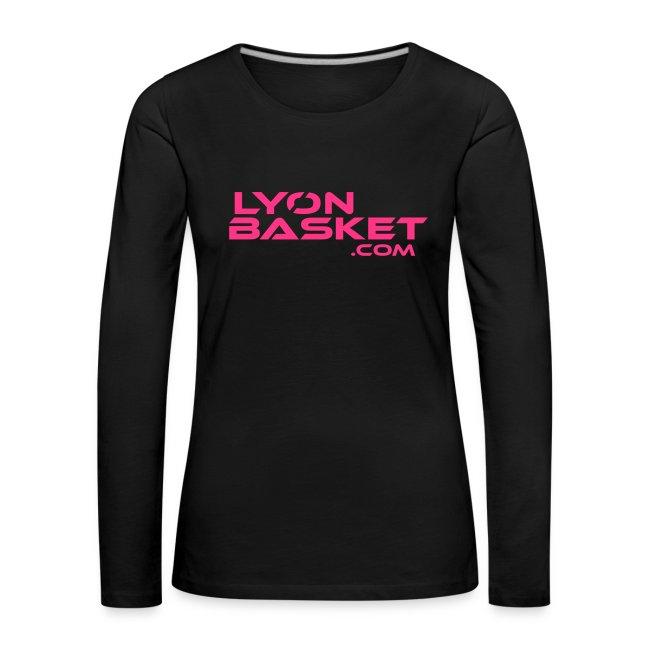T-shirt manches longues Femme noir logo rose