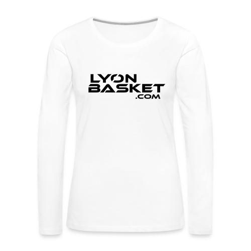 T-shirt manches longues Femme blanc logo noir - T-shirt manches longues Premium Femme