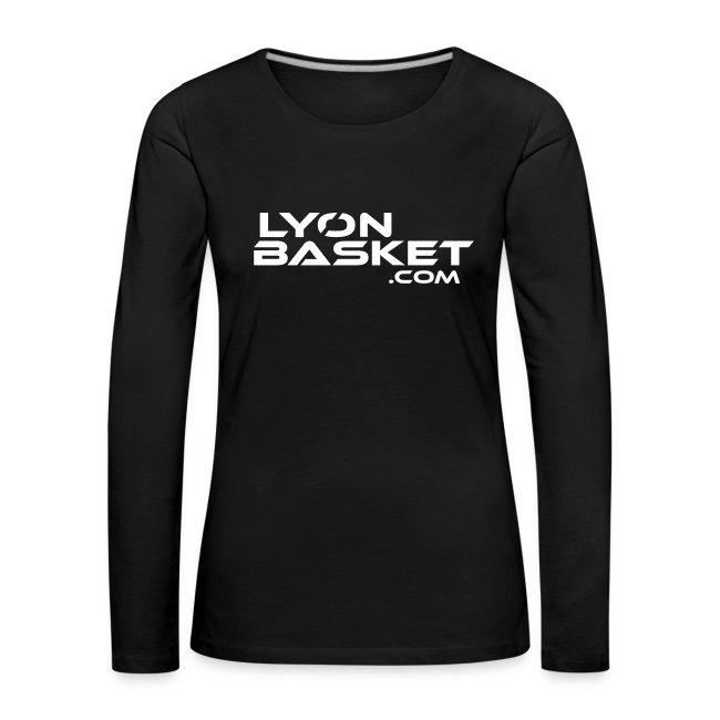 T-shirt manches longues Femme noir logo blanc
