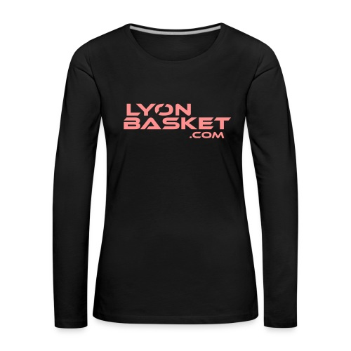 T-shirt manches longues Femme noir logo rose pale - T-shirt manches longues Premium Femme