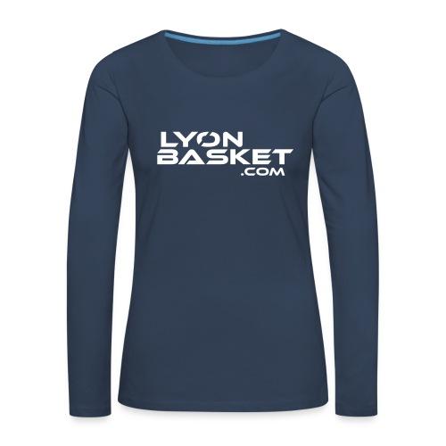 T-shirt manches longues Femme bleu logo blanc - T-shirt manches longues Premium Femme