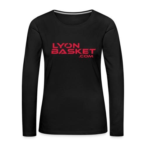 T-shirt manches longues Femme noir logo rouge - T-shirt manches longues Premium Femme