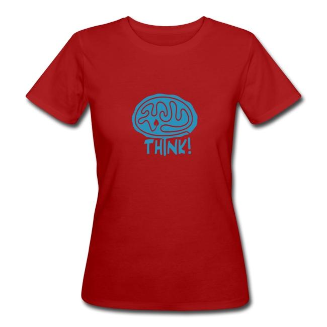 """""""Think"""" Bio-T-Shirt mit Flockdruck (w)"""