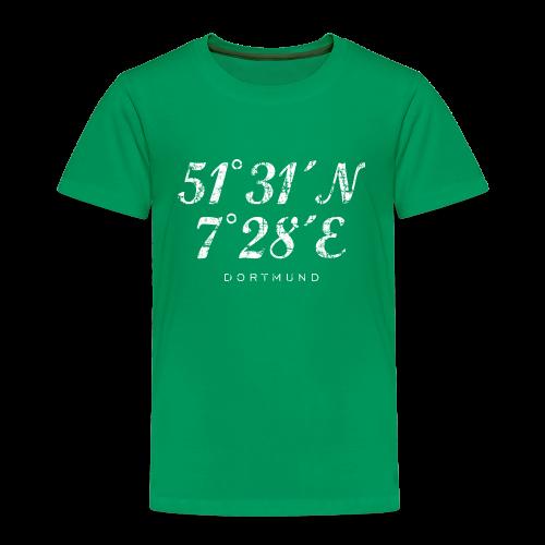 Dortmund Koordinaten T-Shirt (Distressed Weiß) - Kinder Premium T-Shirt