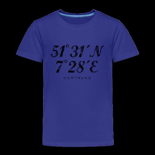 Dortmund Koordinaten T-Shirt (Distressed Schwarz) - Kinder Premium T-Shirt