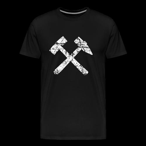 Schlägel und Eisen - Bergbau T-Shirt (Herren Schwarz/Weiß) - Männer Premium T-Shirt