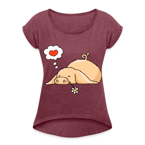 T-skjorte med rulleermer for kvinner