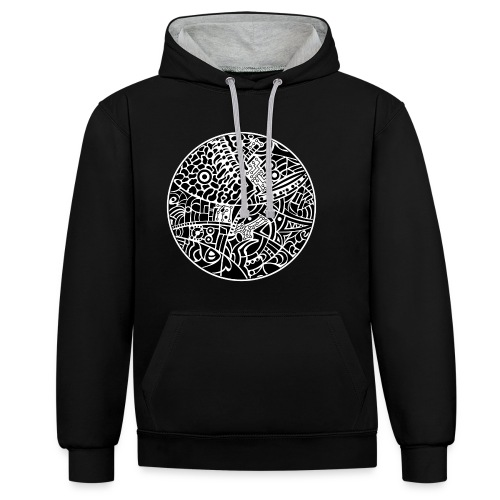 Unisex contrast color hoodie with globe tribal design in black and white colors - Kontrast-hættetrøje
