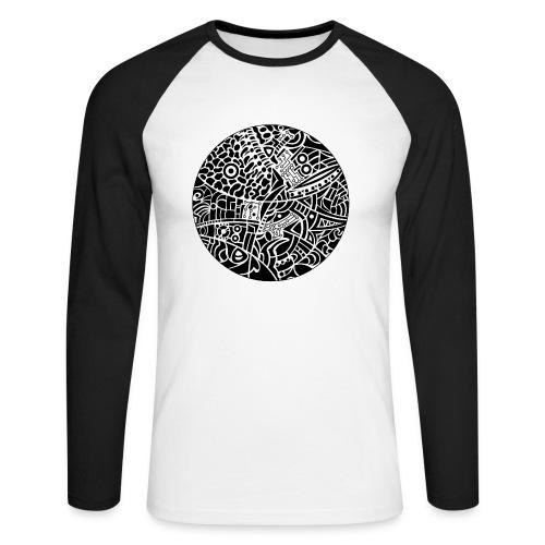 with globe tribal design in black and white colors - Langærmet herre-baseballshirt