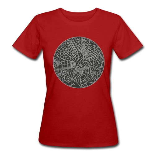 Woman's Organic T-Shirt by Continental with globe tribal design in grey colors - Organic damer