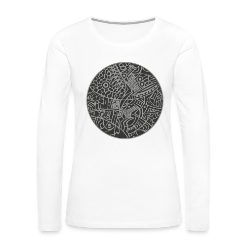 Woman's long sleeves shirt with globe tribal design in grey colors - Dame premium T-shirt med lange ærmer