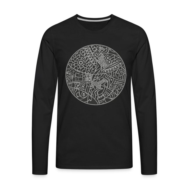 Mens's premium long sleeves shirt with globe tribal design in grey colors