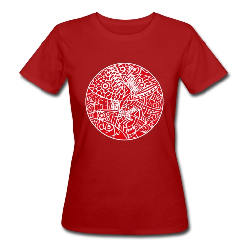 Woman's Organic T-Shirt with globe tribal design white and red - Organic damer