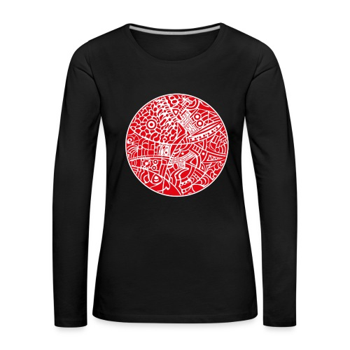 Woman's Premium Long Sleeve Shirt with globe tribal design white and red - Dame premium T-shirt med lange ærmer