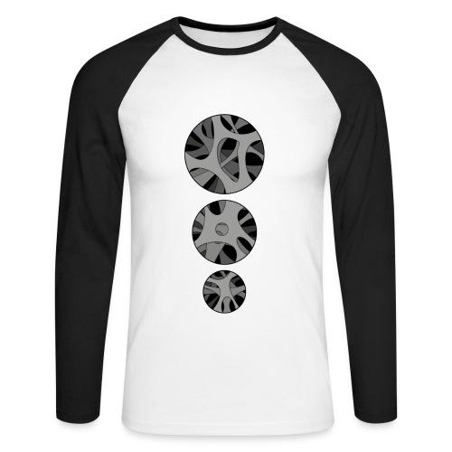 with 3 x Round hollow art design - Langærmet herre-baseballshirt