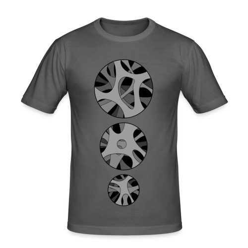 Men's Slim Fit T-Shirt with 3 x Round hollow art design - Herre Slim Fit T-Shirt