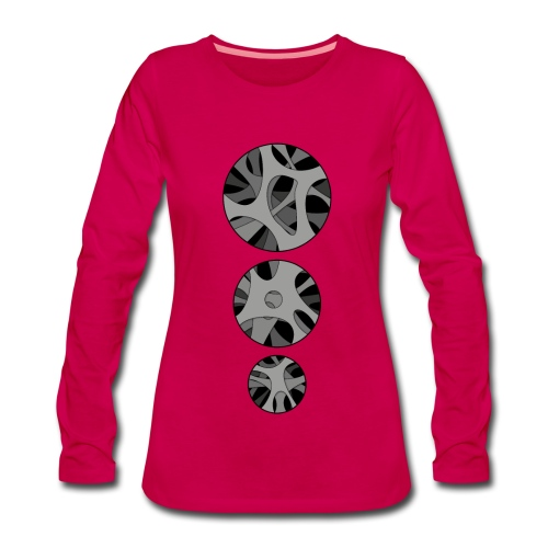 Women's Long sleeve shirt with 3 x Round hollow art design - Dame premium T-shirt med lange ærmer