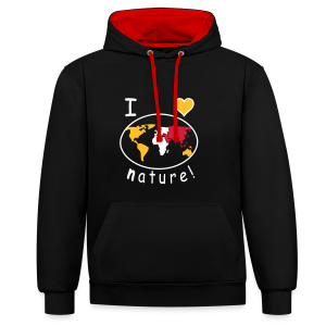 TIAN GREEN Pullover Unisex  - I like nature - Kontrast-Hoodie